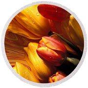 Moody Tulips Round Beach Towel