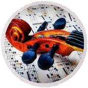 Moody Violin Scroll On Sheet Music Round Beach Towel