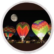 Moon And Balloons Round Beach Towel