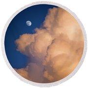 Moon And Cloud Round Beach Towel