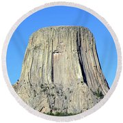 Moon And Devil's Tower National Monument, Wyoming Round Beach Towel