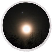 Moon And Jupiter Round Beach Towel