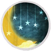 Moon And Stars Round Beach Towel by Setsiri Silapasuwanchai