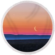 Moon And Venus Rising Over The Flat Round Beach Towel