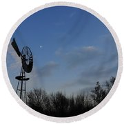 Moon And Windmill Round Beach Towel