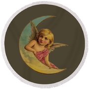 Moon Angel T Shirt Design Round Beach Towel