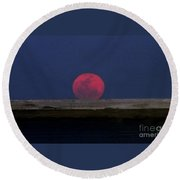Moon At Perigee Round Beach Towel