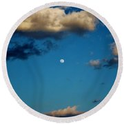 Moon Between The Clouds Round Beach Towel