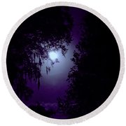 Moon - Between - The - Trees Round Beach Towel