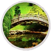 Moon Bridge At Huntington Round Beach Towel