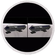 Moon Bus - Gently Cross Your Eyes And Focus On The Middle Image Round Beach Towel