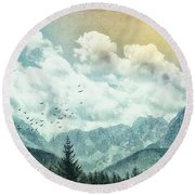 Moon By Day Round Beach Towel