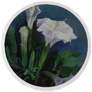 Moon Flower  Round Beach Towel