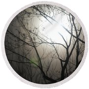 Moon Halo In Winter Round Beach Towel