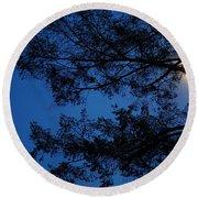 Moon Hiding In The Tree Round Beach Towel