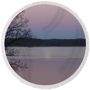 Moon In A Colorful Sky Over Kentucky Lake And Lbl A National Recreation Area Round Beach Towel