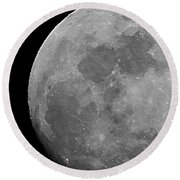 Moon In B And W Round Beach Towel