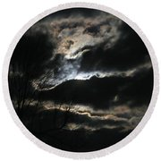 Moon In The Clouds Over Kentucky Lake Round Beach Towel