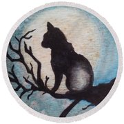 Moon Kitty Round Beach Towel