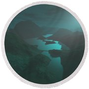 Moon Light At The Mountains Round Beach Towel