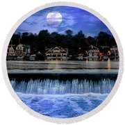 Moon Light - Boathouse Row Philadelphia Round Beach Towel