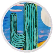 Moon Light Cactus L Round Beach Towel