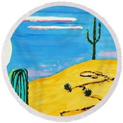Moon Light Cactus R Round Beach Towel