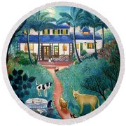 Moonlight Over  Miami Round Beach Towel by Colette Raker