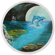 Moon Light Swim  Round Beach Towel