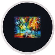 Moon Light Through The Rain Round Beach Towel