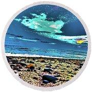 Moon Lit Beach, Bray, Wicklow, Ireland, Poster Effect1b Round Beach Towel