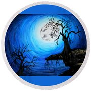 Moon Lit Round Beach Towel