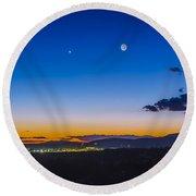 Moon, Mercury & Venus Conjunction Round Beach Towel