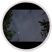 Moon On A Cloudy Night Round Beach Towel