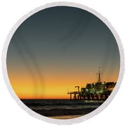 Moon On Jetty  Round Beach Towel by Michael Hope