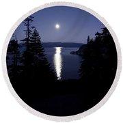 Moon On Lake Tahoe Round Beach Towel