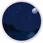 Moon On The Ocean Round Beach Towel