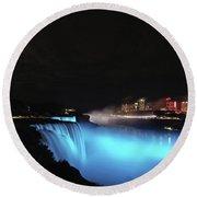 Moon Over Blue Niagara Round Beach Towel
