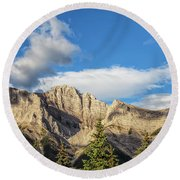 Moon Over Canmore Alberta Round Beach Towel
