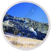 Moon Over Chautauqua Round Beach Towel