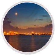 Moon Over Duluth Harbor Round Beach Towel