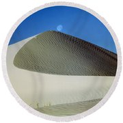 214804-moon Over Dune  Round Beach Towel