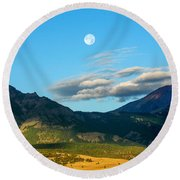 Moon Over Electric Mountain Round Beach Towel