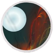 Moon Over Fire Weed Round Beach Towel