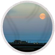 Moon Over Flow Station 1 Round Beach Towel