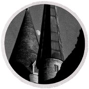 Moon Over Hogwarts Round Beach Towel