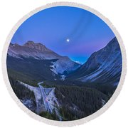 Moon Over Icefields Parkway In Alberta Round Beach Towel
