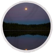 Moon Over Kirkas-soljanen 2 Round Beach Towel