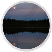 Moon Over Kirkas-soljanen  Round Beach Towel