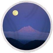 Moon Over Mt. Jefferson Round Beach Towel